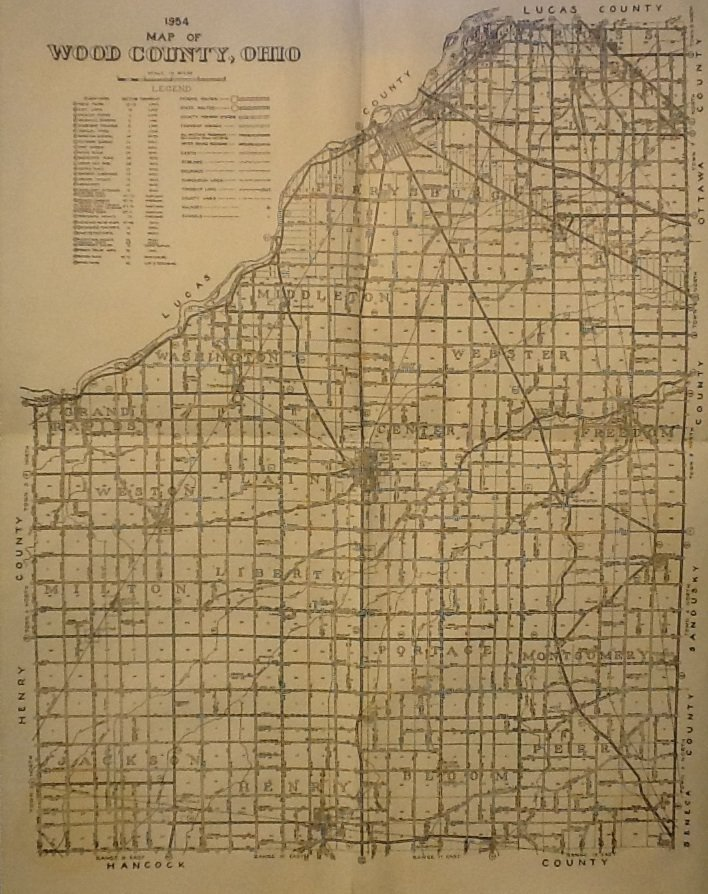 Map of Wood County Ohio, Black & White, 17 x 22 c.1954