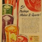 Vintage Kool-Aid Drink Mix Ad, Packet, Pitcher and Glasses, Full Color c.1951