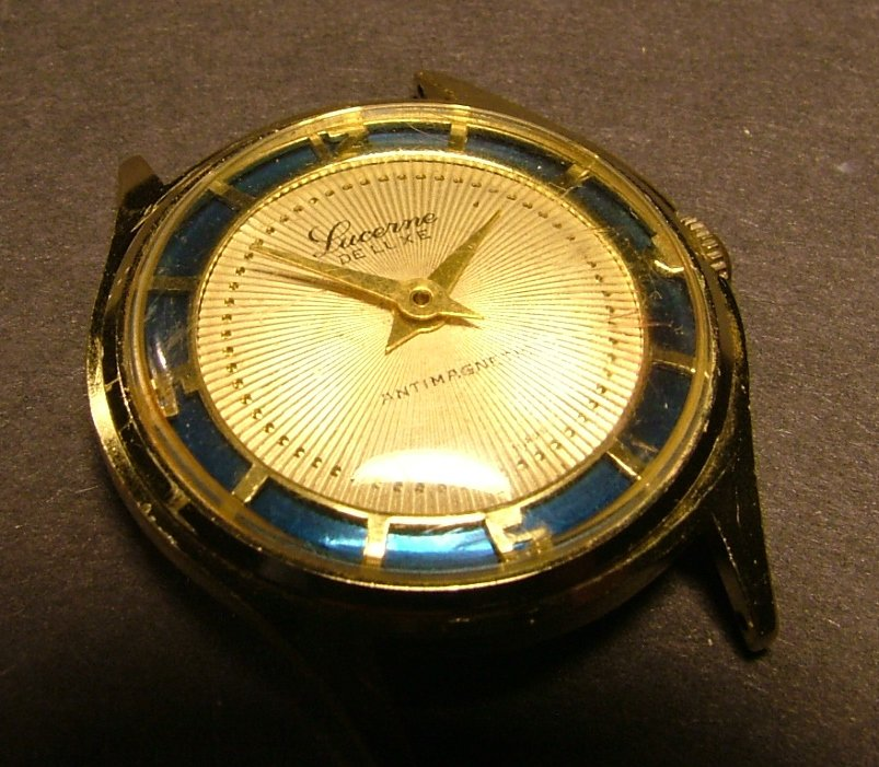 Lucerne Men's Watch with White & Blue Dial, Arabic Numerals, Works c.1953
