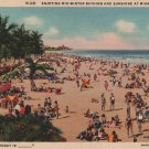 Miami Beach Florida Postcard, Swimming and Sunshine, Temperature Today is __ c.1933
