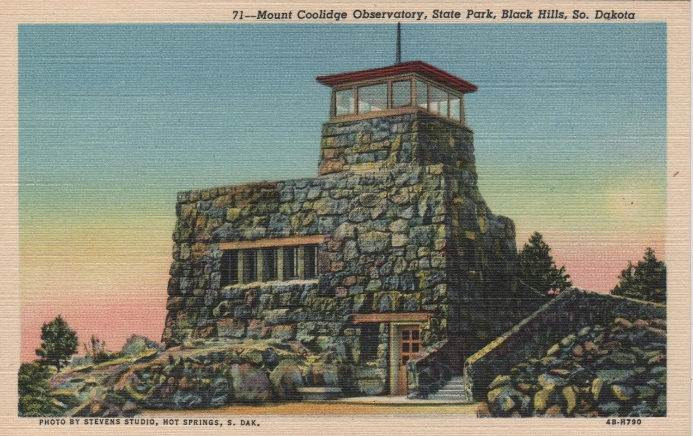 Black Hills South Dakota Postcard, Mount Coolidge Observatory, State Park c.1944