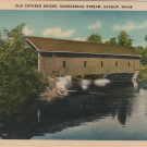 Bangor Maine Postcard, Kenduskeag Stream Covered Bridge, Full Color c.1939