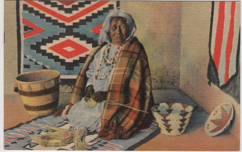 Albuquerque New Mexico Postcard, Apache Indian Basket Maker at Market c.1950