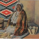 Albuquerque New Mexico Postcard, Apache Indian Basket Maker at Market c.1950