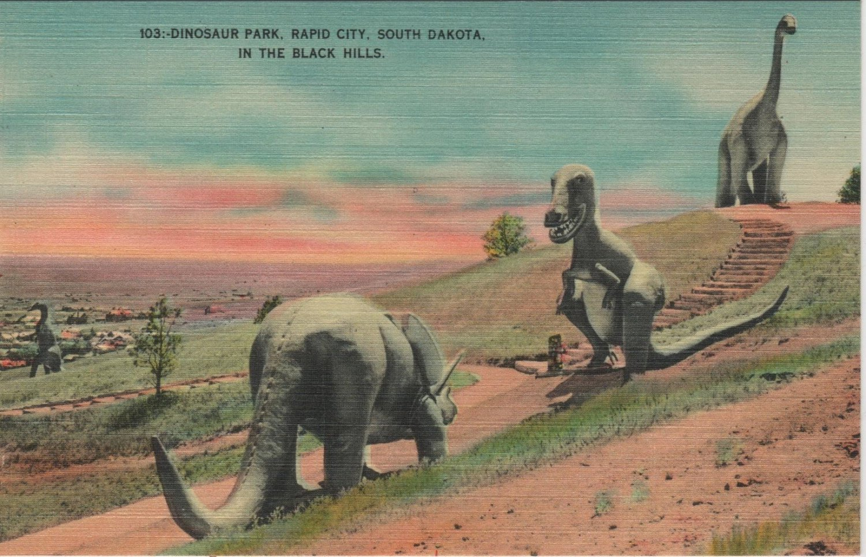 Rapid City South Dakota Postcard, Dinosaur Park in The Black Hills, Full Color c.1940