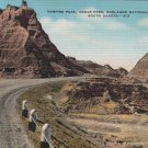 Vintage South Dakota Postcard, Vampire Peak at Cedar Pass, Badlands National Monument c.1939