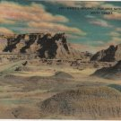 South Dakota Postcard, Dante's Inferno, Badlands National Monument, Full Color c.1939
