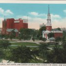 New Haven Connecticut Postcard, Trinity Church, Taft Park & Center Church Across The Green c.1929
