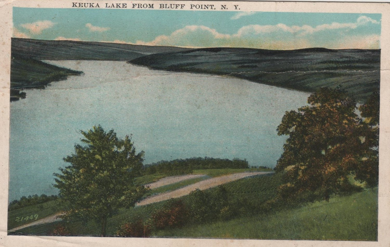 New York Landscape Postcard, Keuka Lake from Bluff Point, Full Color c.1927