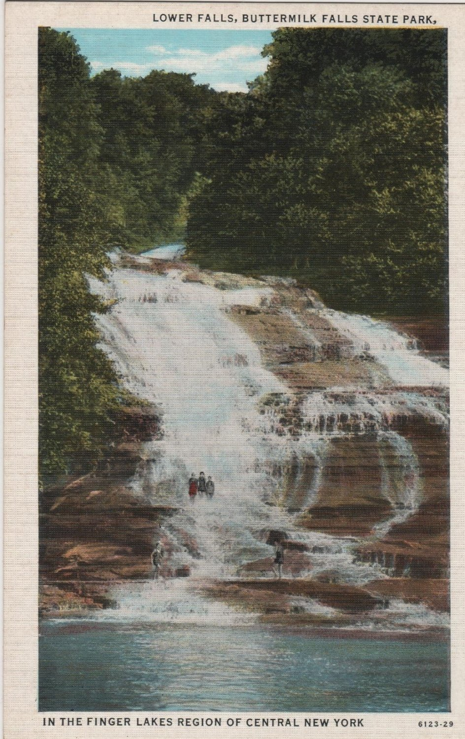 New York Landscape Postcard, Lower Falls at Buttermilk Falls State Park, Finger Lakes Region c.1929
