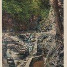 Watkins Glen New York Postcard, Suspension Bridge, Full Color c.1937