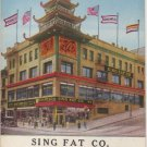 San Francisco California Card, Sing Fat Co. Chinese Bazaar, Full Color c.1925