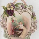 Valentines Day Card, Cranky Baby with Cranky Pet Bird, Color c.1890
