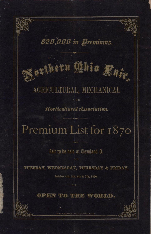 State Fair Premium List Book, Northern Ohio Fair Association 1st Annual Fair at Cleveland c.1870