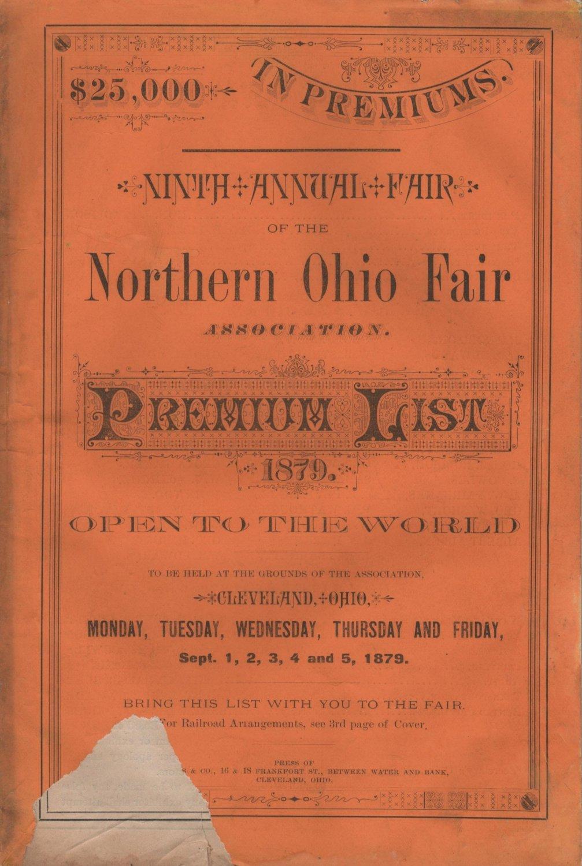 State Fair Premium List Book, Northern Ohio Fair Association 9th Annual Fair at Cleveland c.1879