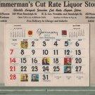 Christmas Advertising Calendar Giveaway, Zimmerman's Liquor Store, Dearborn Chicago c.1962
