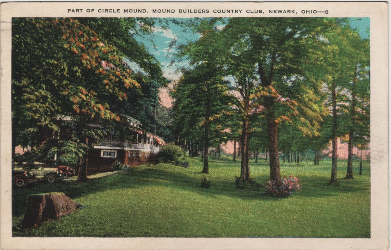 Newark Ohio Postcard, Circle Mound at Mound Builders Country Club, Full Color c.1932