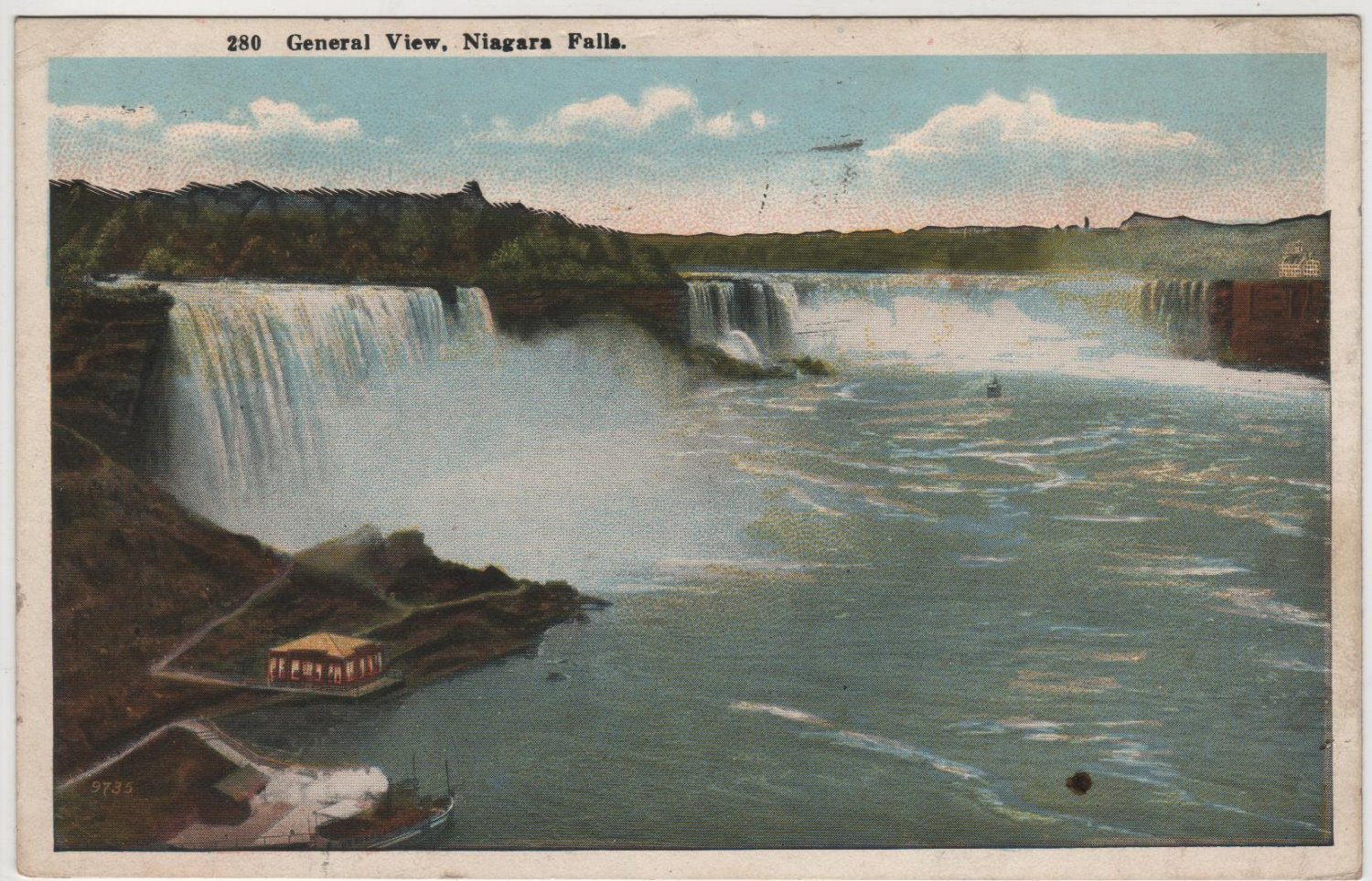 Niagara Falls New York Postcard, General View of The Falls, Full Color c.1921