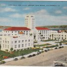 San Diego California Postcard, City Hall and Civic Center Buildings and Grounds, Full Color c.1926