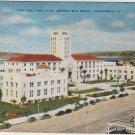 San Diego California Postcard, City Hall & Civic Center c.1926