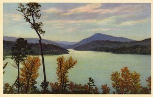 Lake Lure North Carolina Postcard, Old Fort Bay and Magnolia Mountain, Full Color c.1930