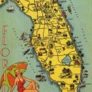 State of Florida Card, Yellow Map with Bathing Beauty on Beach c.1938