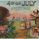 4th of July Postcard, Native American, Tepee and Bald Eagle, Embossed with Glitter c.1907