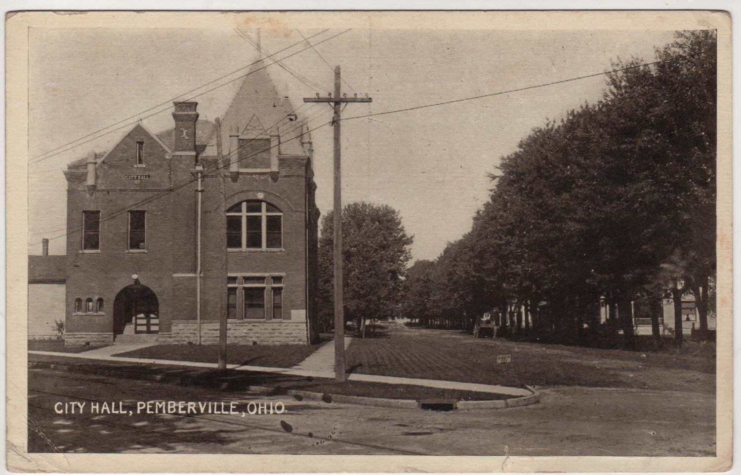 Pemberville Ohio Postcard, City Hall Building and Grounds c.1910