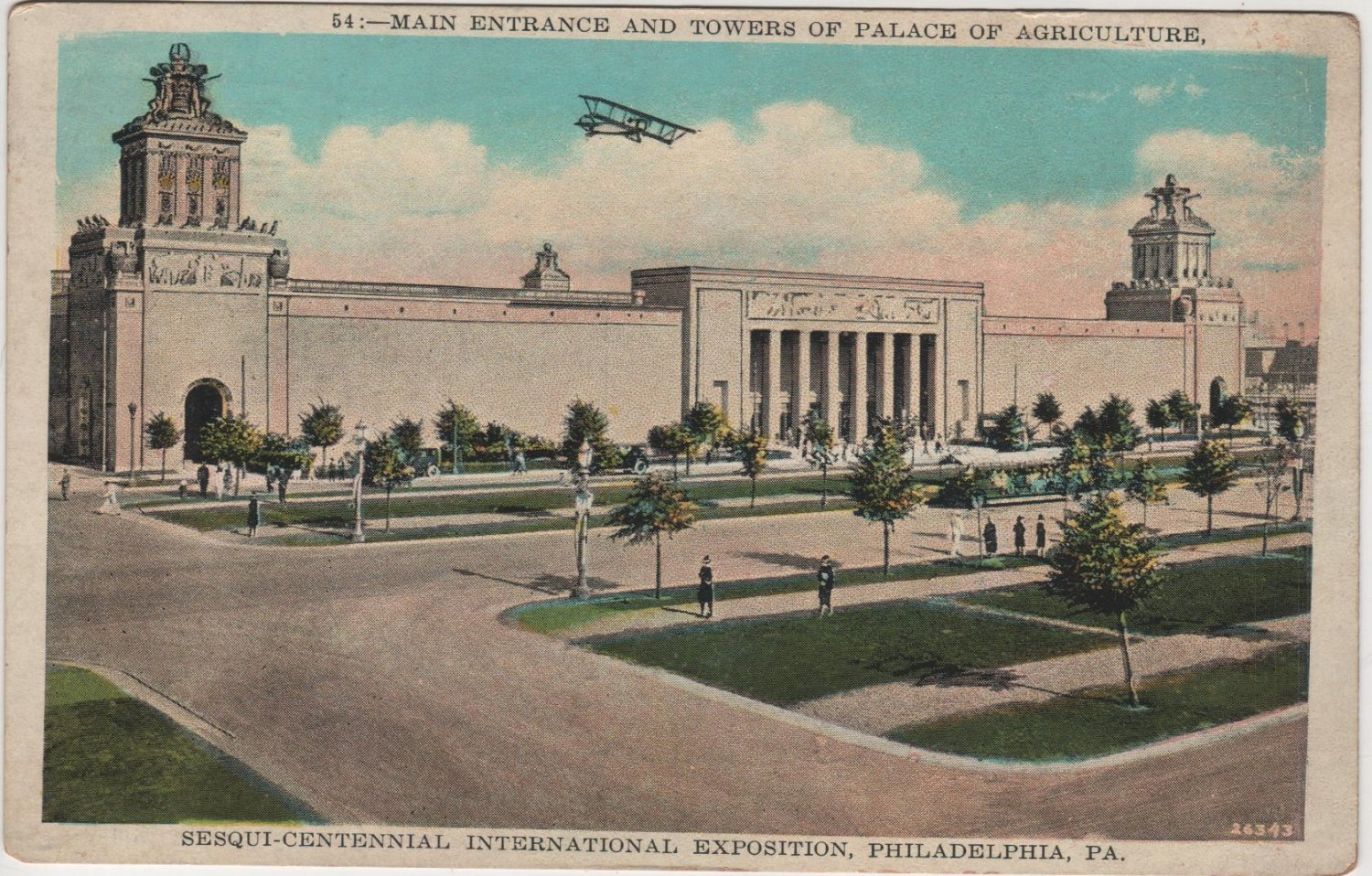 Philadelphia Pennsylvania Postcard, Main Entrance & Towers of Palace of Agriculture c.1926