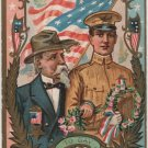 Decoration Day Postcard, Soldiers Today and Yesterday, Patriotic & Embossed c.1908