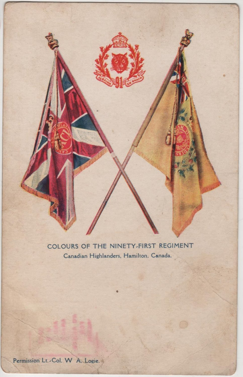 Hamilton Canada Postcard, Colours of The 91st Regiment Canadian Highlanders c.1906