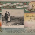 Thanksgiving Postcard, Return of The Mayflower, Full Color & Embossed c.1918