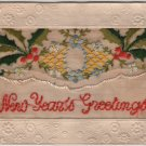 New Year Greetings Postcard, Embroidered Pocket with Note and Embossed Border c.1904