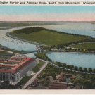 Washington D.C. Postcard, Washington Harbor and Potomac River South from Monument c.1929