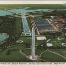 Washington D.C. Postcard, Washington Monument, Lincoln Memorial, Bridge and Potomac River c.1929