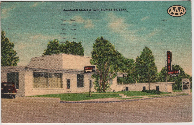 Humboldt Tennessee Postcard, Humboldt Motel and Grill, AAA Motorclub c.1950