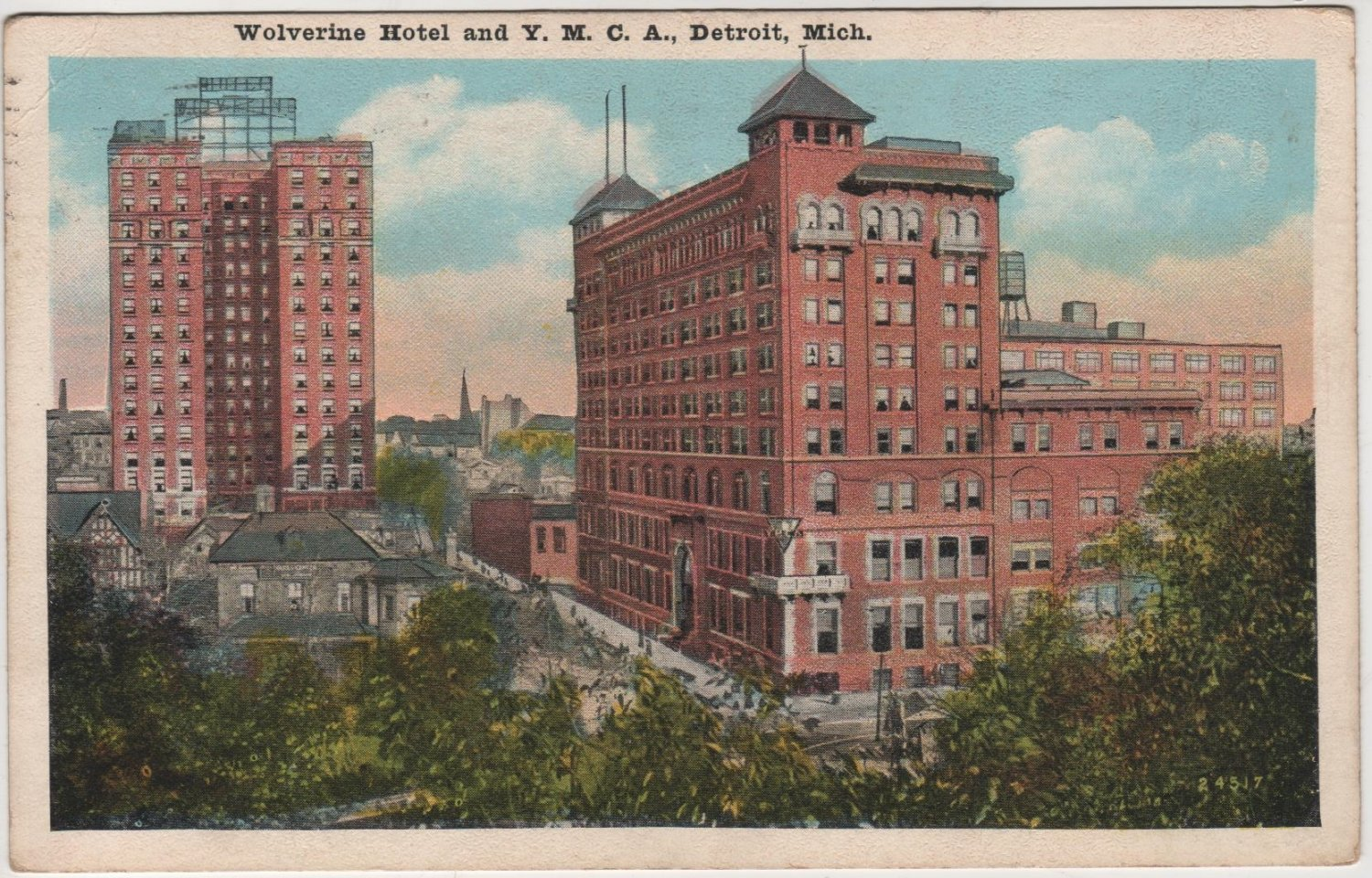 Detroit Michigan Postcard, The Wolverine Hotel and Y.M.C.A. Building c.1925