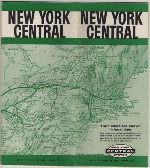 New York Central Railroad Timetable Map, Green & White Cover c.1961