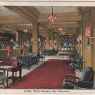 San Francisco California Postcard, The Hotel Stewart, Interior of Lobby c.1925