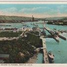 Seattle Washington Postcard, Canal Locks in Full Color c.1925