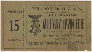 G.A.R. Lawn Fete Benefit Ticket, Ford Post No. 14, Toledo Ohio c.1896