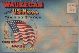 Great Lakes Illinois Postcard Folder, Waukegan & US Naval Training Station, Sixteen Images c.1943