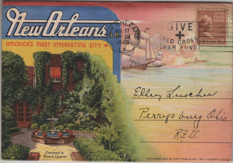 New Orleans LA Postcard Folder, 18 Views of The Paris of America c.1937