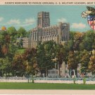 West Point New York Card, U.S. Military Academy Cadets Marching to Parade Grounds c.1935