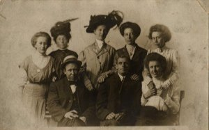 Group Portrait Postcard, Period Clothing and Hats c.1900