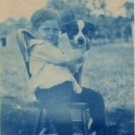 Cyanotype Photo of Young Boy with Dog c.1907