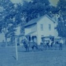 Cyanotype Portrait Postcard, Horse & Buggy in Front of Farmhouse c.1907