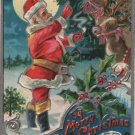 Christmas Postcard, Santa in Red Suit with Reindeer and Holly, Embossed c.1907