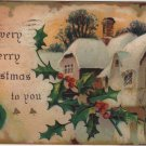 Christmas Card, Wintery Scene with Snow Covered Roof, Embossed c.1913