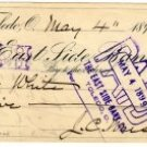 Checks Drawn from East Side Bank Co. of Toledo Ohio c.1899